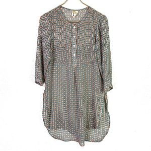 Fig And Flower Anthro Sheer Tunic Shirt Dress